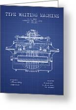 1903 Type Writing Machine Patent - Blueprint Greeting Card
