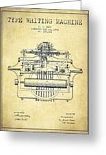 1903 Type Writing Machine Patent - Vintage Greeting Card