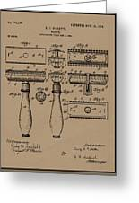 1904 Gillette Razor Patent Drawing Greeting Card