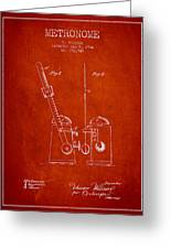 1904 Metronome Patent - Red Greeting Card