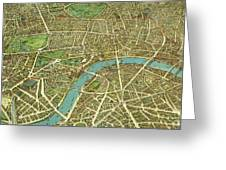 1908 London Vintage Map Poster Greeting Card