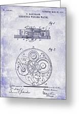 1908 Pocket Watch Patent Blueprint Greeting Card