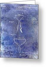1909 Cork Extractor Patent Blue Greeting Card