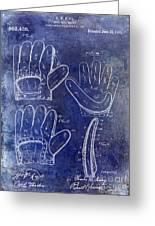 1910 Baseball Glove Patent Blue Greeting Card