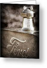 1911 Ford Model T Torpedo Hood Ornament - Emblem -317ac Greeting Card