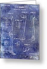 1911 Mechanical Skeleton Patent 1 Blue Greeting Card