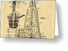 1911 Oil Well Patent Greeting Card by Barry Jones