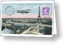 1911 Paris Eiffel Tower Colorized Postcard Greeting Card