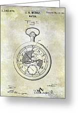 1916 Pocket Watch Patent Greeting Card