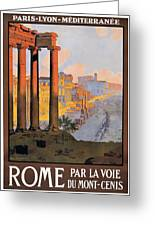 1920 Paris To Rome Train Travel Poster Greeting Card