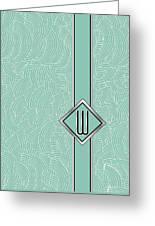 1920s Blue Deco Jazz Swing Monogram ...letter W Greeting Card