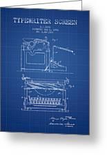 1923 Typewriter Screen Patent - Blueprint Greeting Card