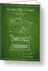1923 Typewriter Screen Patent - Green Greeting Card