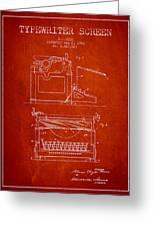 1923 Typewriter Screen Patent - Red Greeting Card