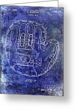 1925 Baseball Glove Patent Blue Greeting Card