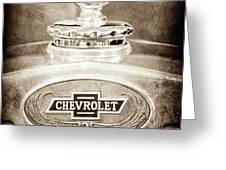 1928 Chevrolet 2 Door Coupe Hood Ornament Moto Meter -0789s Greeting Card by Jill Reger