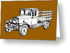 1929 Chevy Truck 1 Ton Stake Body Drawing Greeting Card