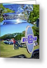 1930 Chevrolet Ad Hood Ornament Greeting Card