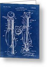 1930 Gas Pump Patent In Blue Greeting Card