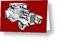 1930 Model A Custom Hot Rod Illustration Greeting Card