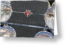 1931 Cadillac Phaeton Grille And Headlights Greeting Card
