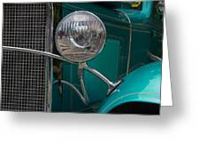 1931 Teal Chevy Hot Rod Headlight Greeting Card