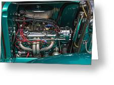 1931 Teal Chevy Hot Rod Motor Greeting Card