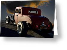 1932 Ford Five Window Coupe 'leaving Town' Greeting Card