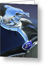 1932 Ford Quail Hood Ornament Greeting Card