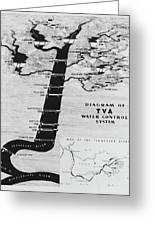1933 Tennessee Valley Authority Map Greeting Card