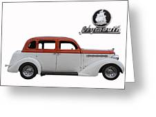 1935 Plymouth With Insignia Greeting Card