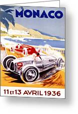 1936 F1 Monaco Grand Prix  Greeting Card by Georgia Fowler