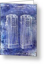 1936 Gas Pump Patent Blue Greeting Card