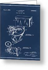 1936 Toilet Bowl Patent Blue Greeting Card