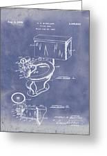 1936 Toilet Bowl Patent Blue Grunge Greeting Card