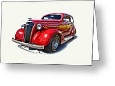 1937 Red Chevy Master Deluxe Greeting Card by Mamie Thornbrue