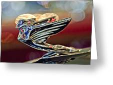 1938 Cadillac V-16 Sedan Hood Ornament Greeting Card