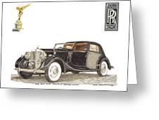 1938 Rolls Royce Phantom I I I Sedanca Deville Greeting Card