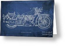 1939 Brough Superior Ss100 Blueprint Blue Background Greeting Card