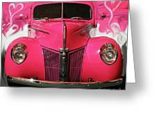 1940 Classic Hot Pink Ford Greeting Card