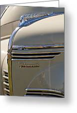 1940 Plymouth Hood Ornament 2 Greeting Card