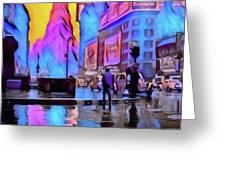 1940s Times Square Rain Greeting Card