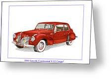 1941 Mk I Lincoln Continental Greeting Card