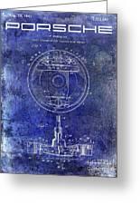 1941 Porsche Brake Mechanism Patent Blue  Greeting Card