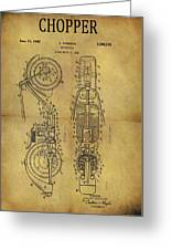 1942 Chopper Motorcycle Patent Greeting Card