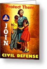 1942 Civil Defense Poster By Charles Coiner Greeting Card