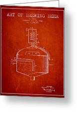 1944 Art Of Brewing Beer Patent - Red Greeting Card
