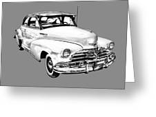 1948 Chevrolet Fleetmaster Antique Car Illustration Greeting Card