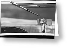 1948 Mg Tc Rear View Mirror Black And White Greeting Card