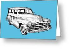 1948 Pontiac Silver Streak Woody Illustration Greeting Card